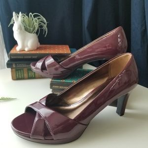 Etienne Aigner Patent Leather Peep Toe Heels